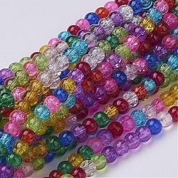 """Perles en verre craquelé rondes 16"""" teintes avec couleur mixte, 4mm, Environ 105 pcs/chapelet, trou: environ 0.5 mm(X-GGM001)"""