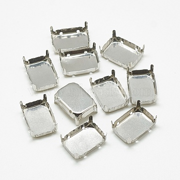 201 Stainless Steel Rhinestone Claw Settings, Rectangle, Stainless Steel Color, Tray: 17x12mm; 17.5x12.5x6.5mm, Hole: 1mm(STAS-T032-05-13x18mm)