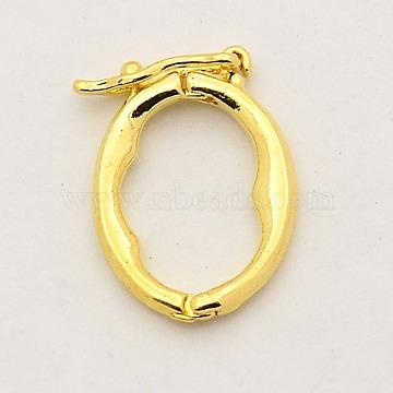 Brass Shortener Clasps, Twister Clasps, Oval Ring, Golden, 17x13x2mm(KK-M004-04G)