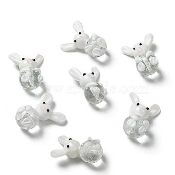 Handmade Bunny Lampwork Beads, Rabbit, White, 25~28x18~20x13~14mm, Hole: 1mm (X-LAMP-P051-J01)
