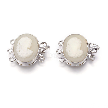Resin Box Clasps, Multi-Stand Clasps, with Platinum Tone Brass Findings, Oval with Girl, WhiteSmoke, 21.5x26.5x7.5mm, Hole: 2mm(RESI-L023-D01)