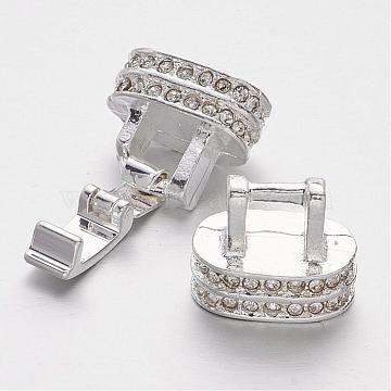 Alloy Crystal Rhinestone Fold Over Clasps, Silver Color Plated, 25x14x8mm, Hole: 10x5mm(ALRI-M002-01S)