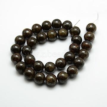 8mm Coffee Round Bronzite Beads