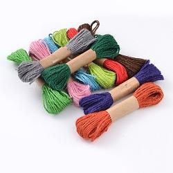 Corde de chanvre, chaîne de chanvre, ficelles de chanvre pour la fabrication de bijoux bricolage, couleur mixte, 1mm; 10bundles / bag(OCOR-M006-01)