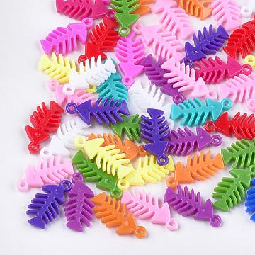 Plastic Pendants, Fish Bone, Mixed Color, 35x16.5x5mm, Hole: 2.5mm; about 440pcs/500g(KY-T009-05)