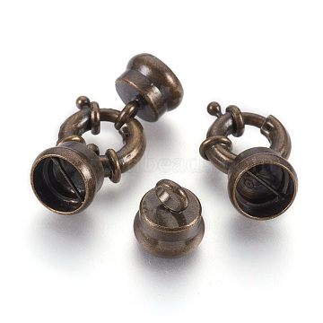 Brass Spring Ring Clasps Sets, with Cord Ends, Nickel Free, Antique Bronze, 15x4mm, Hole: 9mm(X-KK-N0036-AB-NF)