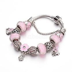 Bracelets européens de mode en laiton, avec des perles de verre et perles en alliage de strass, pearlpink, 190x3mm(BJEW-L583-04C)