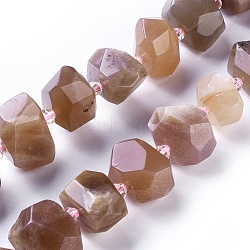 Natural Sunstone Beads Strands, Faceted, Nuggets, 11~14x13~18x11~13mm, Hole: 0.7mm; about 25pcs/strand, 15''(38.3cm)