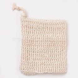 Fashion Linen Soap Bag, Shower Soap Saver Pouch Bathing Soap Scrub Mesh Bag, PeachPuff, 14x10cm(MRMJ-WH0019-02B)