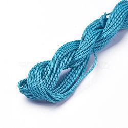 cordon de polyester ciré, dodgerblue, 1 mm; sur 8.96~9 m / rouleau(YC-WH0005-06)