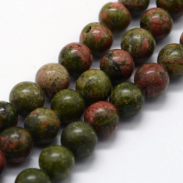 Natural Unakite Beads Strands, Round, 4mm, Hole: 0.6mm; about 95pcs/strand,  14.76inches(37.5cm)(G-I199-08-4mm)