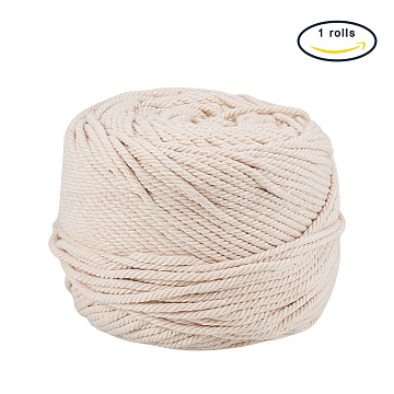 Cotton String Threads for Jewelry Making, Navajo White, 3mm, about 109.36 yards(100m)/roll(OCOR-WH0009-C01-3mm)