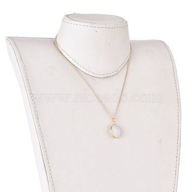 Faceted Opalite Wire Wrapped Pendant Necklaces(NJEW-JN03080-01)-4
