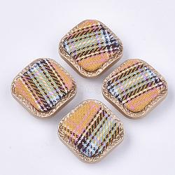 Boutons à queue en plastique CCB, avec un chiffon, 1-trou, carrée, colorées, 26.5x26.5x12mm, Trou: 3.5mm(BUTT-T003-11D)