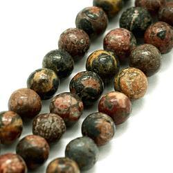 """Chapelets de perles de jaspe en peau de léopard naturel, rond, 12mm, trou: 1.2mm; environ 32 pcs/chapelet, 14.76"""" (37.5 cm)(G-I199-23-12mm)"""