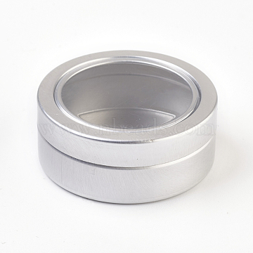 Round Aluminium Tin Cans, Aluminium Jar, Storage Containers for Jewelry Beads, Candies, with Slip-on Lid and Clear Window, Matte Platinum, 4.5x1.8cm; Capacity: 25ml(0.84 fl. oz)(X-CON-L010-05P)