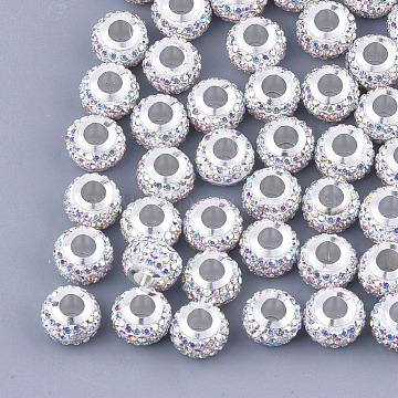Polymer Clay Rhinestones European Beads, Large Hole Beads, with Platinum Tone Brass Single Cores, Rondelle, Crystal AB, 11x8mm, Hole: 4.5mm(FPDL-T001-02A)