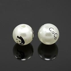 Perles rondes imprimé acryliques, avec une belle dame et mot coco, blanc, 16mm, Trou: 2mm(SACR-F0001-16mm-01)