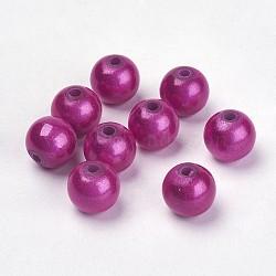 спрей окрашены акриловыми шариками, Чудо шарики, вокруг, фуксия, 8 mm, отверстия: 1.8 mm(X-PB9284-4)