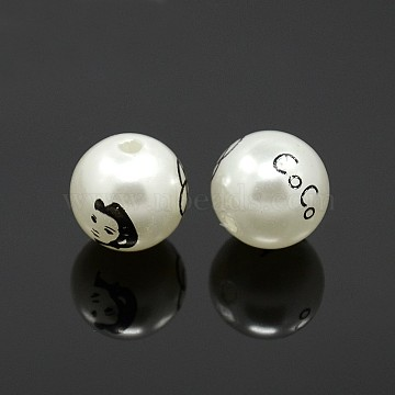 Round Printed Acrylic Beads, with Beautiful Lady and Word CoCo, White, 16mm, Hole: 2mm(SACR-F0001-16mm-01)