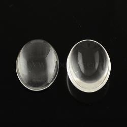 Cabochons de verre transparent de forme ovale, clair, 14x10x3mm(X-GGLA-R022-14x10)