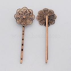 Accessoires bobby épingle à cheveux en fer vintage, avec les supports de lunette filigrane fleur pour cabochon, sans nickel, cuivre rouge, plateau: 22 mm; 65x22x5 mm(IFIN-J039-15R-NF)