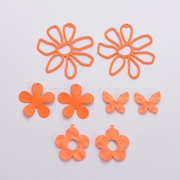 Spray Painted Iron Pendants, Butterfly & Flower, Dark Orange, 20.5x25x3mm, Hole: 1mm, 53x26x2mm, Hole: 1mm, 33x35x3mm, Hole: 1mm, 33.5x31.5x2mm, Hole: 1mm, 8pcs/set(IFIN-X0051-03)