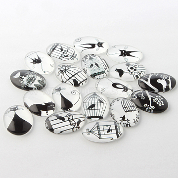 Black and White Theme Ornaments Decorations Glass Oval Flatback Cabochons, Mixed Color, 18x13x4mm(X-GGLA-A003-13x18-BB)