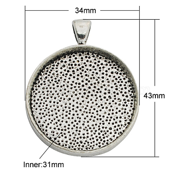 Alloy Pendant Cabochon Settings, Plain Edge Bezel Cups, Lead Free & Cadmium Free & Nickel Free, Flat Round, Antique Silver, 43x34x4mm, Hole: 7x4mm, Tray: 30mm(X-PALLOY-A13349-AS-NR)