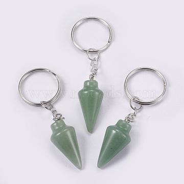 porte-clés aventurine vert naturel, avec les principaux anneaux de fer, platine, 78 mm, pendentif: 32x14 mm(KEYC-P041-A011)
