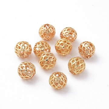 Brass Beads, Long-Lasting Plated, Real 18K Gold Plated, Nickel Free, Hollow, Round, 8mm, Hole: 3mm(X-KK-G331-48G-NF)
