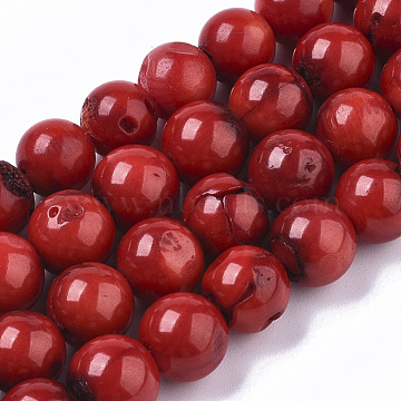 Sea Bamboo Coral(Imitation Coral) Beads Strands, Dyed, Round, Dark Red, 8~9.5mm, Hole: 1mm, about 47~50pcs/Strand, 15.55 inches~15.94 inches(X-CORA-T011-08C-01)