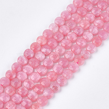 Natural Rhodochrosite Beads Strands, Faceted, Dyed, Flat Round, 6~6.5x3.5mm, Hole: 0.8mm; about 59~60pcs/strand, 14.9''~15.1''(G-S354-22)