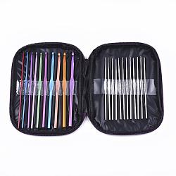 Aluminium crochet crochets aiguilles, Aiguilles en crochet en crochet de fer, couleur mixte, 18x13.3x2 cm, 22 pièces / kit(TOOL-S011-04)