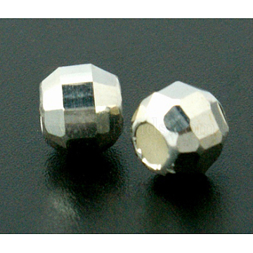 925 Sterling Silver Beads, Faceted, Round, Silver, 2mm, Hole: 1mm, about 600pcs/10g(STER-A010-12-01)
