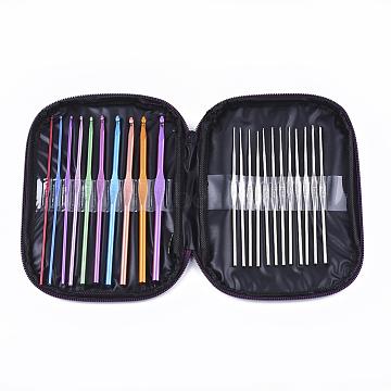 Aluminum Crochet Hooks Needles, Iron Crochet Hooks Needles, Mixed Color, 18x13.3x2cm, 22pcs/set(TOOL-S011-04)