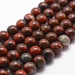 Brins bréchique jaspe de perles naturelles, rond, 8mm, trou: 1mm; environ 44 pcs/chapelet, 14.9''~15.1''(G-G735-35-8mm)