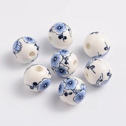 perles de porcelaine imprimés faits à la main, arrondir, bleu, 12 mm, trou: 3 mm(X-CF181Y)