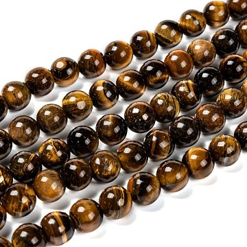 Natural Grade AB Tiger Eye Round Beads Strands, 10mm, Hole: 1mm, about 39pcs/strand, 15 inches(X-G-O047-02-10mm)