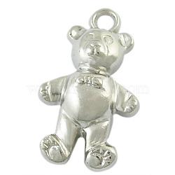 Пластмассовые подвески ccb, медведь, цвет никеля, длиной около 26 мм , шириной 15 мм , толщиной 8 мм , отверстие : 2 мм(X-PCCBH-59Y)