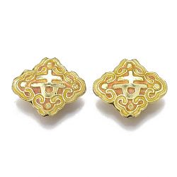 perles en cloisonné main, émail, losange, or, 17.5x20.5x6 mm, trou: 1 mm(X-CLB-Q001-01C)
