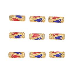 Perles en émail d'alliage de style chinois, Tube, or, colorées, 13.5x5mm, Trou: 1.6mm(X-ENAM-L015-08D-G)