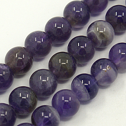 Natural Gemstone Beads Strands, Amethyst, AB Grade, Round, Purple, 4mm, Hole: 1mm, about 88pcs/strand