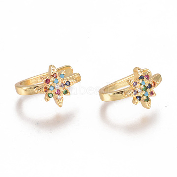 Golden Plated Brass Micro Pave Cubic Zirconia Cuff Earrings, Long-Lasting Plated, Star, Colorful, 13x11x2mm(EJEW-L244-25G)