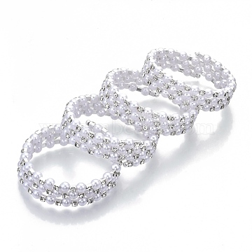 Three Loops Iron Wrap Bracelets, with Rhinestone and ABS Plastic Imitation Pearl, Platinum, Crystal, Inner Diameter: 2 inches(5cm)(BJEW-R308-01)