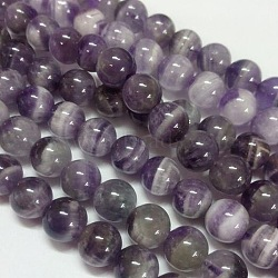 Gemstone Beads Strands, Natural Grade B Amethyst, Round, Purple, 10mm, Hole: 1mm; about 40pcs/strand
