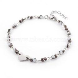 """Perles de verre de cheville de charme, avec les accessoires en métal, Rondelle et coeur, noir, 9-1/2"""" (24 cm), 4~4.5mm(AJEW-AN00235-01)"""