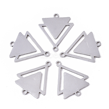 201 Stainless Steel Links connectors, Laser Cut Links, Double Triangle, Stainless Steel Color, 19.5x16x1mm, Hole: 1.4mm(X-STAS-R104-018P)