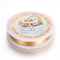 Copper Wire, Long-Lasting Plated, Golden, 24 Gauge, 0.5mm; 10m/roll(CWIR-L004-B-G)