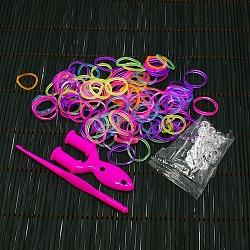 Bricolage fluorescentes bandes de métiers à tisser en caoutchouc néon recharges avec des bandes et accessoires, colorées, 110x90x13mm(X-DIY-R010-M)